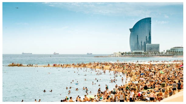 Beachfront in Barcelona, Spain