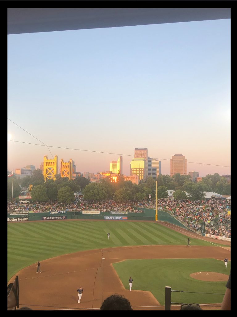 A photo of Raley Field in Sacramento at sunset.