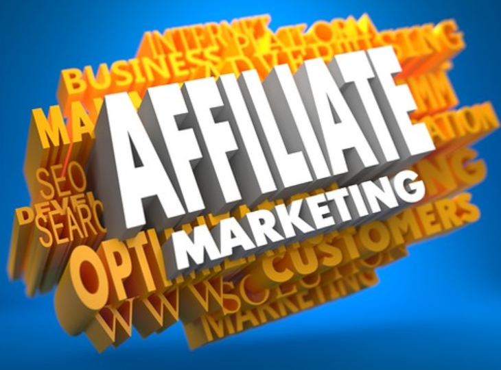 Blue and yellow image with white words saying affiliate marketing