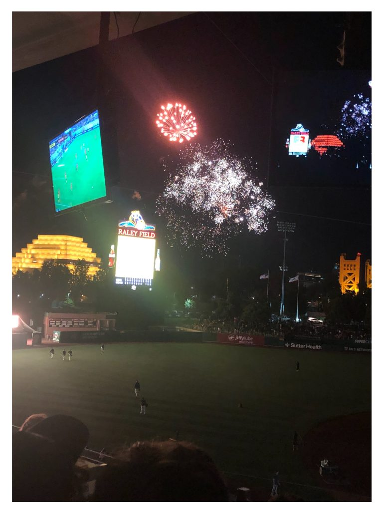A photo of fireworks at Raley Field.