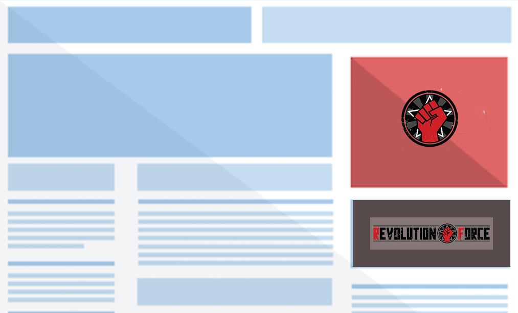 A blue and white website graphic with a red and gray banner.