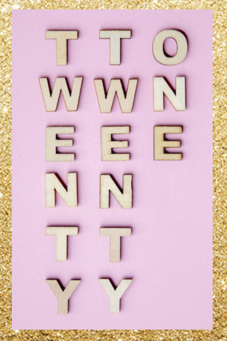 pink and gold background with the words written twenty twenty one